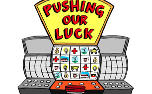 pushing our luck cover design, detail