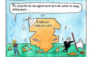 Fiona Katauskas 'Decoding cuts' cartoon